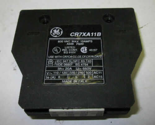 General Electric Auxiliary Contact, CR7XA11B, Used, WARRANTY