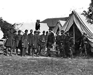 New-8x10-Civil-War-Photo-Abraham-Lincoln-with-George-McClellan-amp-Officers