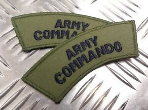 Genuine-British-Military-039-ARMY-COMMANDO-039-OD-X2-Shoulder-Patch-Badge-NEW