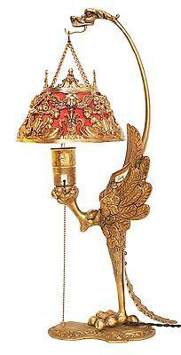 """Einzigartige museale original Art Deco Tischlampe """"GOLDEN PHOENIX"""" um 1920"""