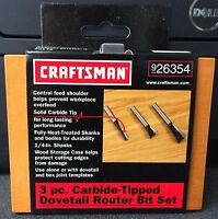 Craftsman 26354 3pc Carbide Tipped Dovetail Router Bit Set 1/4 Shank