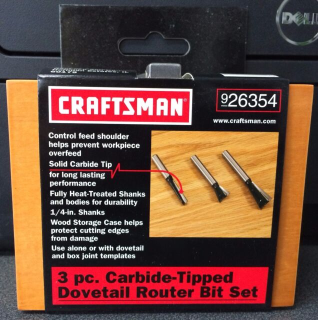 Craftsman 26354 3 Piece Carbide Tipped Dovetail Router Bit Set 1/4  Shank & Craftsman 3 Pc. Dovetail Router Bit Set 26354 | eBay