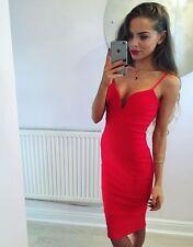 Red Plunge Bandage Bodycon Midi Dress Size 10 -:::- Brand New