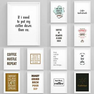 Framed-Coffee-Art-Prints-Kitchen-Wall-Art-Office-Coffee-Prints-Funny-Quotes-Art