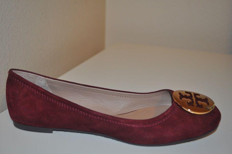 $235 Tory Burch REVA Ballet Flat Shoes Burgundy Suede Gold Logo Ballerina Sz 7.5