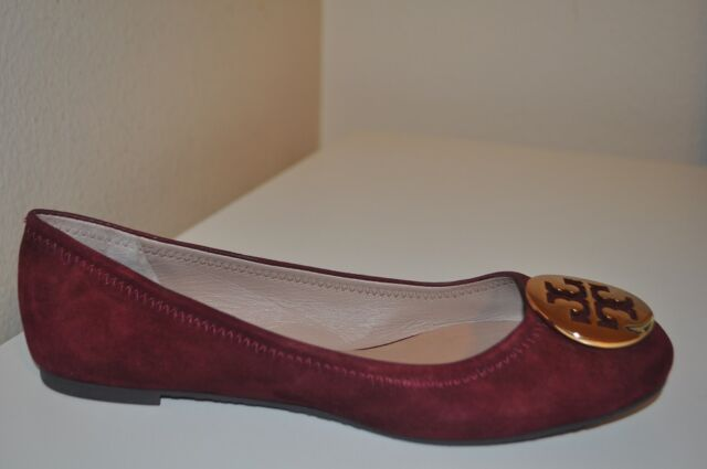 89287a189a7  235 Tory Burch REVA Ballet Flat Shoes Burgundy Suede Gold Logo Ballerina  Sz 7.5