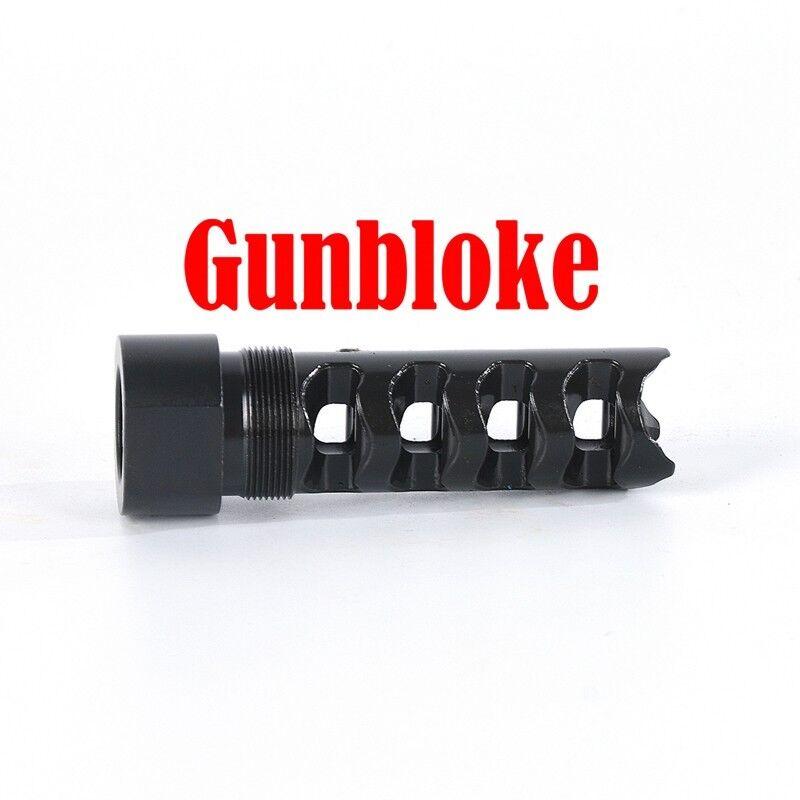 Muzzle brake 5/8x18 UNF QUAD-TAC-PLUS - UK any cal - suits UK - HOWA 30b06f