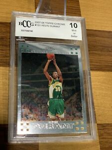 2007-08 Topps Chrome #131 Kevin Durant BCCG 10 Rookie RC Mint Brooklyn Nets