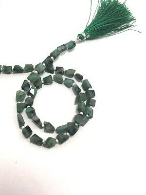 natural Emerald stepcut cutting faceted nuggets beads 14'' strand 7to9mm 70cts