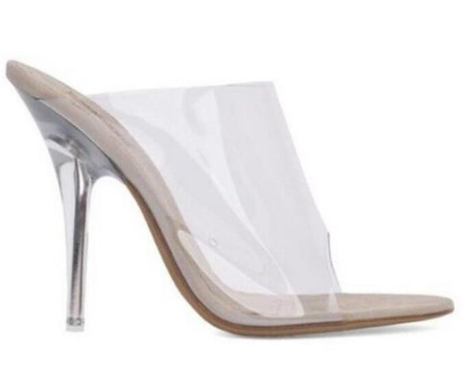 Women's High Heels Stiletto Sandals Transparency Clear Open Toe Slip On Casual