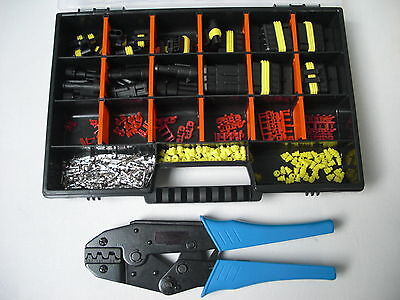 15 x AMP Superseal Stecker Set 1- 6-polig + Crimpzange + Box Auto Motorrad,boot