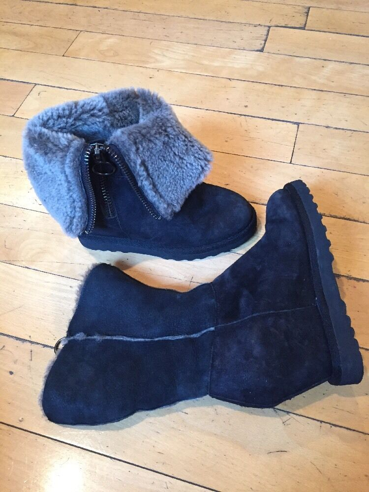 Ash Black Suede Women's Yorki Boots Fur Inside Size USA 5.5
