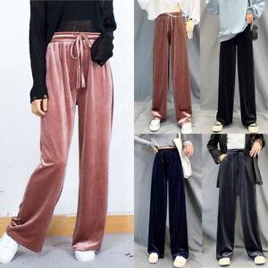 Moda Para Mujer Terciopelo Pantalones Talle Alto Holgado Ancho Pierna De Campana Ebay
