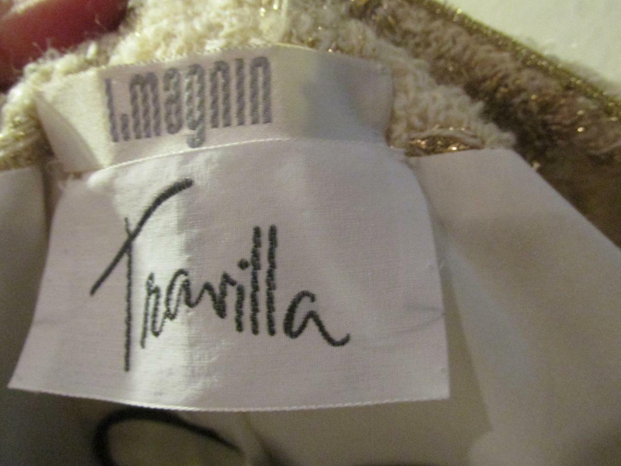 Vintage TRAVILLA Ivory & Gold Tunic Jacket 8 Beau… - image 5