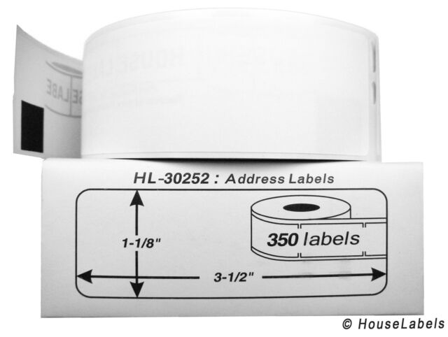 """DYMO LW 30252 Direct Thermal Address Labels (1-1/8"""" x 3-1/2"""") - (4) Rolls of 350"""
