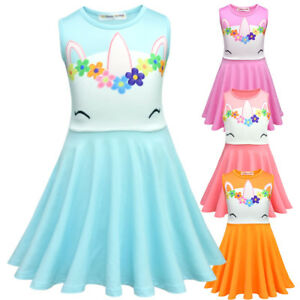 NEW-Childrens-Girls-Colorful-Unicorn-Party-Princess-Dress-Costume-ZG8