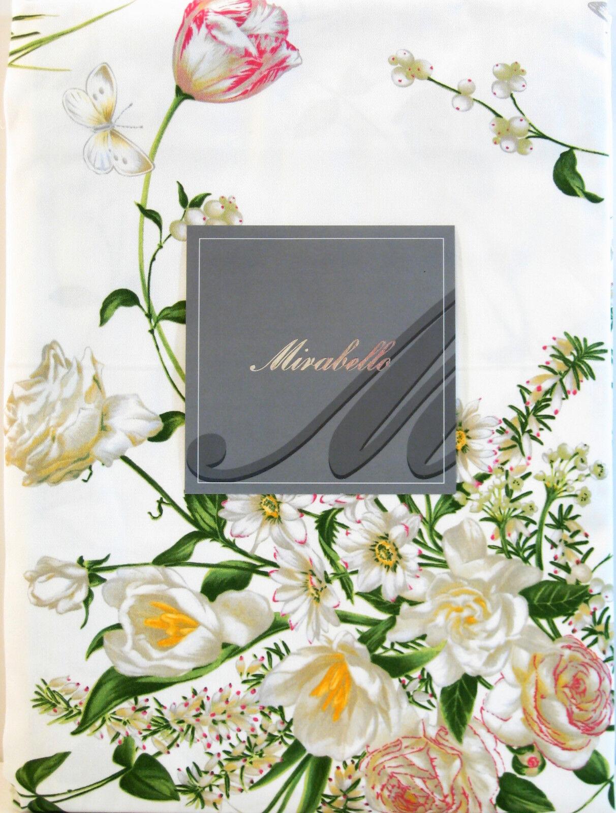 Mirabello Italie Coton Nappe BOUQUET DI Erika Floral Blanc 63 x 90-NEUF
