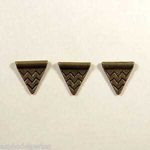 10 perles forme triangle à motif vagues métal couleur bronze 14x14 mm ymKMc7fN-09094801-331500947