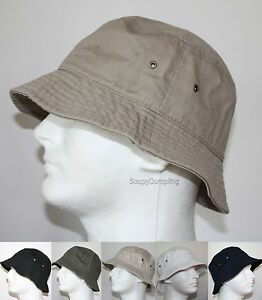 MEN 100% COTTON FISHING BUCKET HAT CAP - BEIGE BLACK GREEN NAVY ... aa002f757df