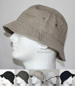 MEN-100-COTTON-FISHING-BUCKET-HAT-CAP-BEIGE-BLACK-GREEN-NAVY-WHITE-S-M-L-XL