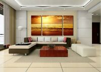 """LARGE CANVAS WALL PICTURE """"Sea Sunset Beach"""" OIL PAINTING (No Frame)"""