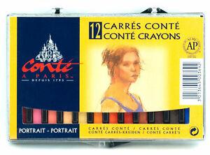 Conte-a-Paris-Carre-Crayons-2-1-2-034-x-1-4-034-Square-Sticks-Portrait-Set-12pcs