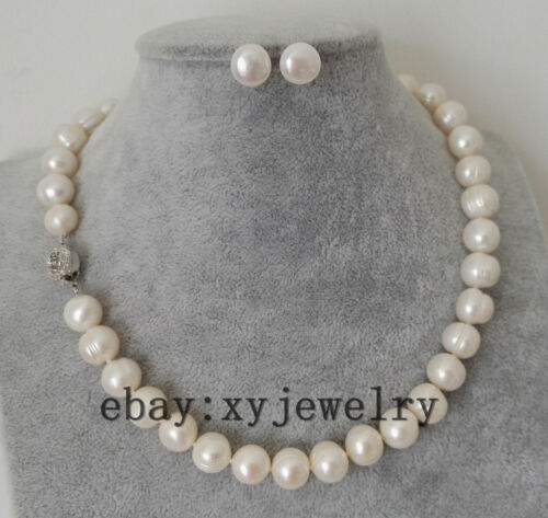 beautiful cultured 11-12mm white fresh water pearl necklace 17 inch earrings set