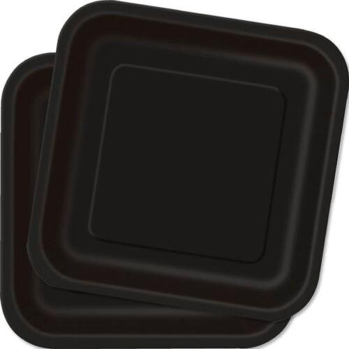 viereckig 22,9cm Einweggeschirr 14 Stück Pappteller in schwarz