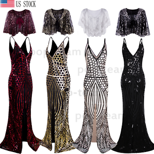 Mermaid 1920s Flapper Gatsby Cocktail Dress Long Wedding Evening Formal Dresses