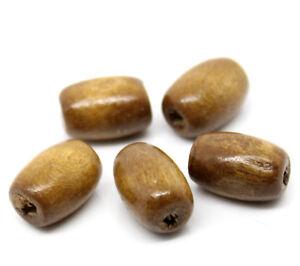 300-Stueck-Holzperlen-Oval-Kaffeebraun-8-x-12-mm-Perlen-Schnullerketten-Basteln