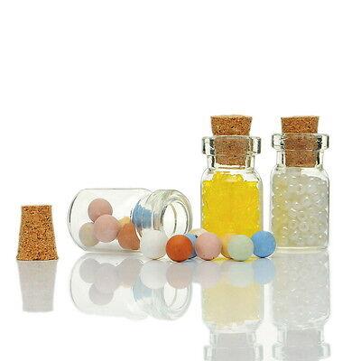 10PCs Mini Glass Bottle Charm Pendants Jewelry Vial Potion Tie Plug 24mm x10mm