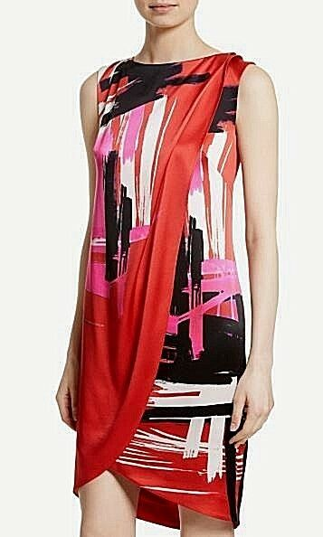 7badc6dfa1c8a NWT St. John Brushstroke Print Stretch Silk Tikka Red Multi Dress Size 4