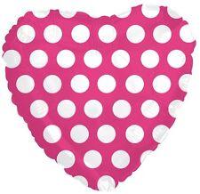 "18"" Polka Dot Hot Pink Heart Shape Balloon Wedding Baby Shower Birthday Hill"