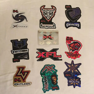 Vtg-2001-Full-Set-of-10-XFL-Football-Team-Stickers-Reflective-Prism-Free-Ship