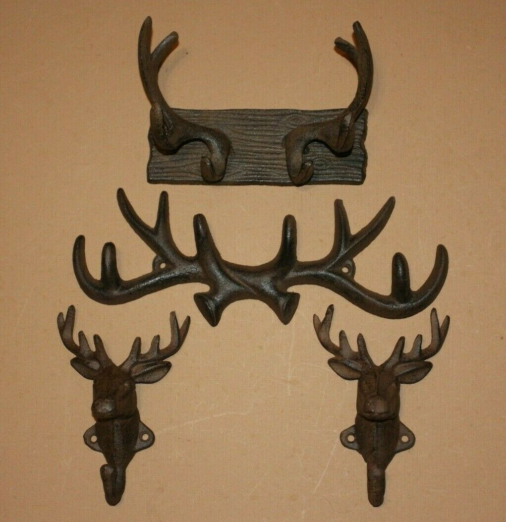 (4) Deer Hunter Mudroom Mancave Decor, Rustic Cast Iron Wall Hooks, Deer Fever