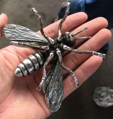 Delicate Hand sculpture Miao silver honeybee statue Bees