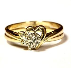 14k-yellow-gold-06ct-SI1-H-round-diamond-heart-womens-ring-3-9g-estate-vintage