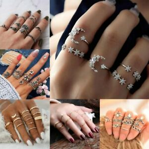Women-Silver-Gold-Boho-Stack-Plain-Above-Knuckle-Ring-Midi-Finger-Tip-Rings-Set