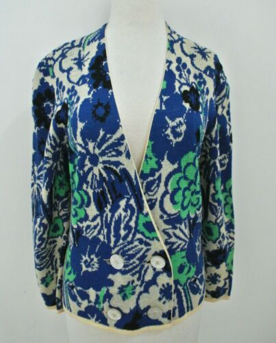 Vtg 60s CATALINA jacquard floral pattern cardigan