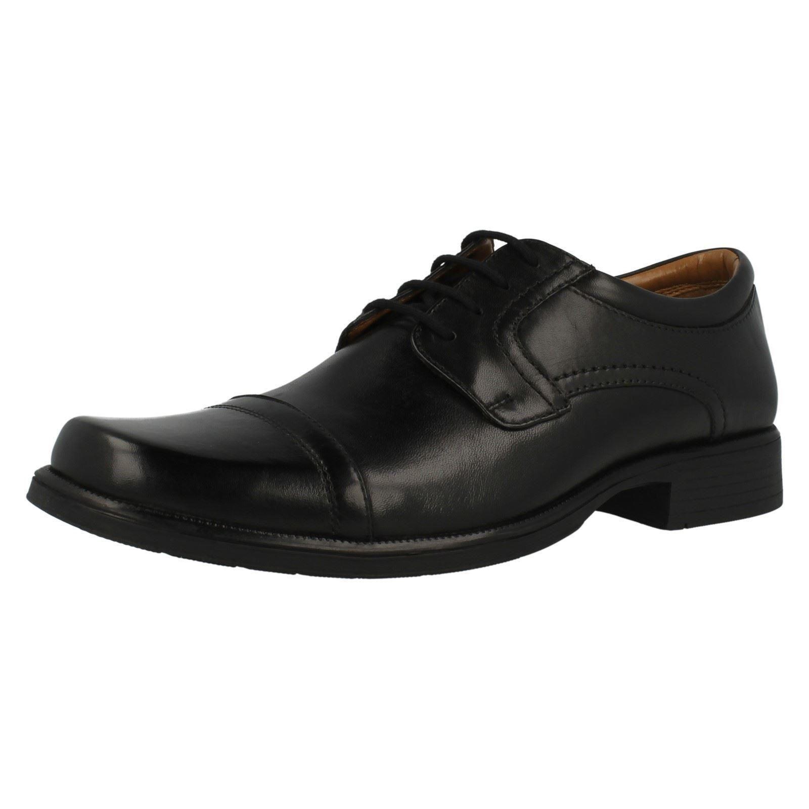 Herren Clarks Schwarz Leather Schuhe Harfe Kappe G Passform  | Rabatt