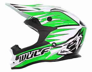 Bambini-Quattro-Wulf-Wulfsport-Mx-Motocross-Nuovo-Advance-Casco-Verde-T