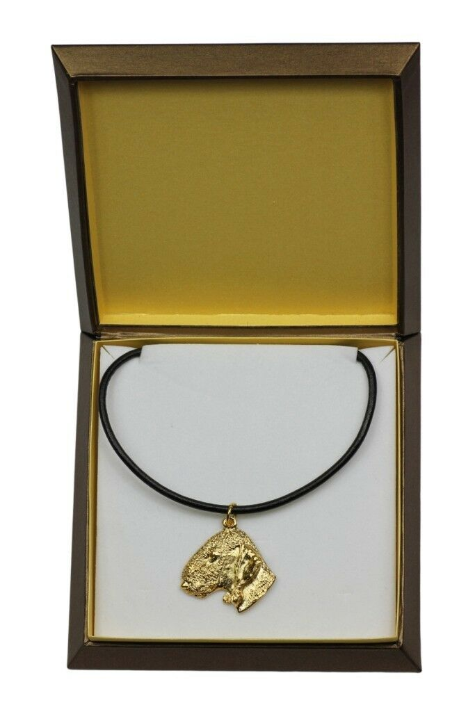 Bedlington Terrier Terrier Terrier - oro covered necklace with dog in box, high quality Art Dog 72ed69