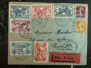 1923 Rouen France Early Airmail Cover to Paris Local Issue Stamps