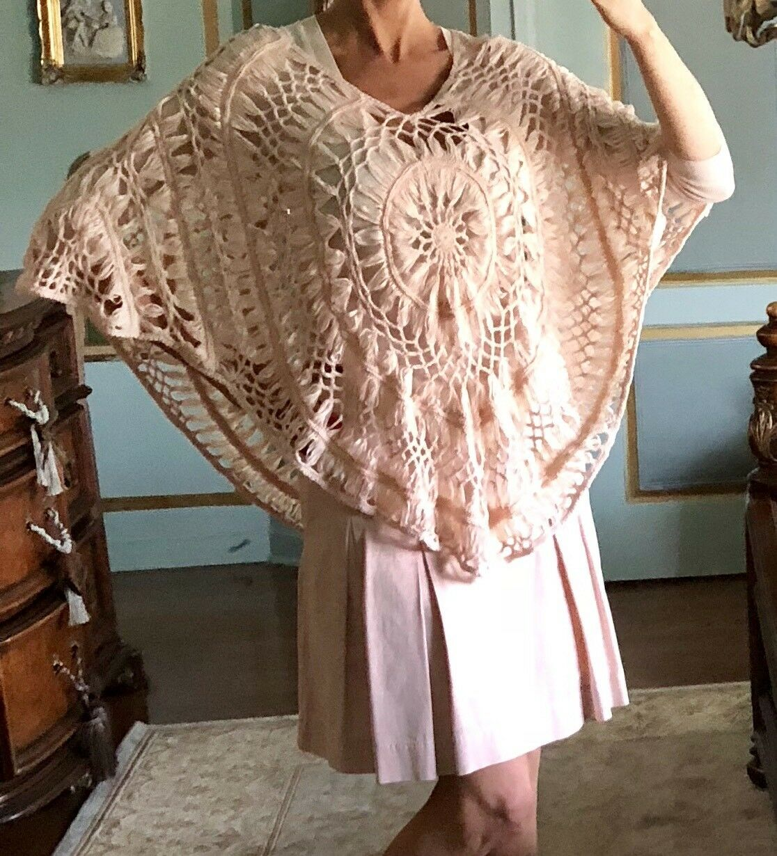 NWT Pink Crochet Poncho Swimwear Cover One Size
