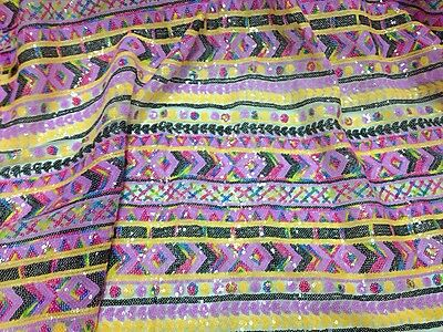 "LILAC MULTICOLOR SEQUINS STRETCH MESH EMBROIDERY LACE FABRIC 52"" WIDE 1 YARD"