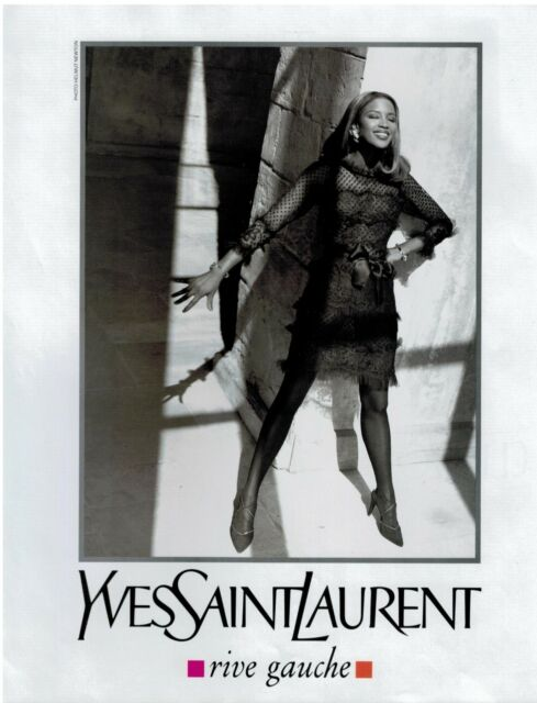1991  NAOMI CAMPBELL for  YVES SAINT LAURENT  YSL  Print Ad 2-pg