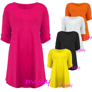 NEW-WOMENS-PLUS-SIZE-TOPS-SCOOP-NECK-SHORT-SLEEVE-TUNIC-TOP-LADIES-SIZES-14-28