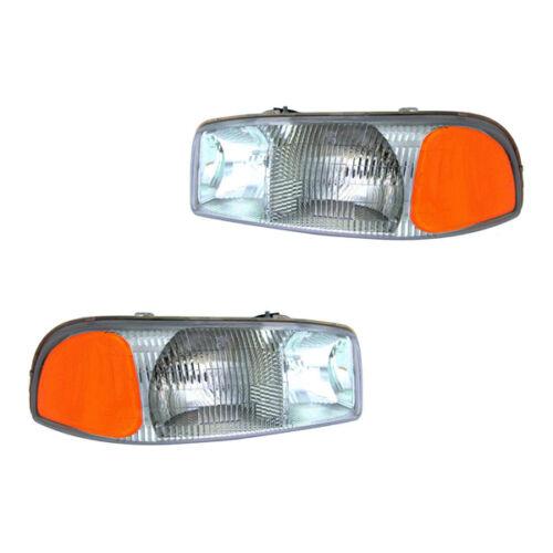 Fits 1999-2007 GMC Sierra Yukon XL Yukon Left Right Headlight Assembly 1 Pair