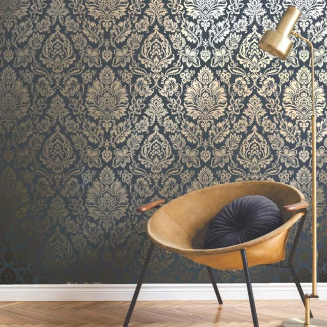 Abingdon Soft Teal Blue Gold Metallic Damask Wallpaper Fine Decor