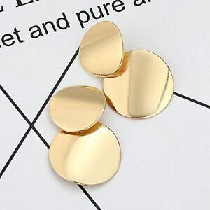 Silber-Gold-Farbe-Creolen-Kreolen-Ohrringe-Runde-Damen-Schmuck-Ohrstecker-Haenger